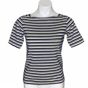 L.L. Bean Black Cream Striped Boatneck Shirt